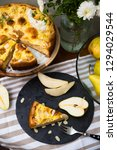 top view of piece of pear pie...   Shutterstock . vector #1294029544