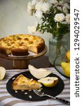 piece of pear pie with vanilla...   Shutterstock . vector #1294029547