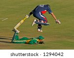 Action during an international cricket game between England and South Africa - stock photo