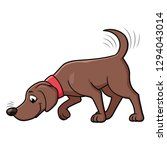 dog sniffing the ground | Shutterstock .eps vector #1294043014