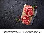 raw marbled ribeye steak. fresh ... | Shutterstock . vector #1294051597