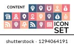 content icon set. 19 filled...