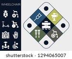 wheelchair icon set. 13 filled ... | Shutterstock .eps vector #1294065007