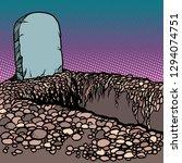 empty dug grave. cemetery... | Shutterstock .eps vector #1294074751
