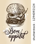 delicious burger with onion... | Shutterstock .eps vector #1294092124