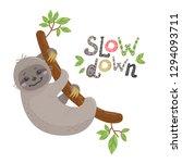 vector cute cartoon sloth... | Shutterstock .eps vector #1294093711