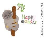 vector cute cartoon sloth... | Shutterstock .eps vector #1294093714