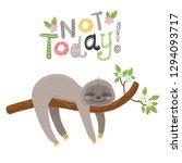 vector cute cartoon sloth sleep ... | Shutterstock .eps vector #1294093717