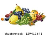 still life of grapes  berries... | Shutterstock .eps vector #129411641