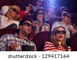 audience watching 3d horror... | Shutterstock . vector #129417164