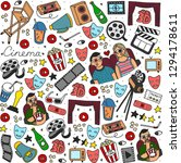 cartoon cute hand drawn cinema. ... | Shutterstock . vector #1294178611