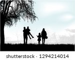 family silhouettes in nature. | Shutterstock .eps vector #1294214014
