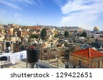 Old city of Jerusalem roofs view - stock photo
