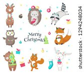 christmas animals. illustration ... | Shutterstock . vector #1294248034