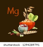 magnesium in food. natural... | Shutterstock .eps vector #1294289791