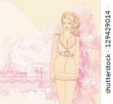 beautiful women shopping in... | Shutterstock .eps vector #129429014