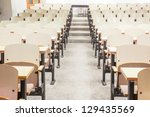 tables and chairs in a college...   Shutterstock . vector #129435569