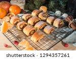 fresh homemade buns with... | Shutterstock . vector #1294357261