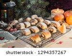 fresh homemade buns with... | Shutterstock . vector #1294357267