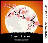 cherry blossom branch in front... | Shutterstock .eps vector #129438689