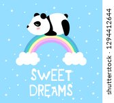cartoon panda and rainbow ... | Shutterstock .eps vector #1294412644