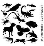 vector silhouettes of animals | Shutterstock .eps vector #129442394