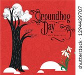happy groundhog day design with ... | Shutterstock . vector #1294439707