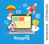 blogging concept with portable... | Shutterstock . vector #1294466281