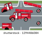 fire truck kids puzzle  against ... | Shutterstock .eps vector #1294486084