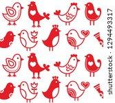 folk art birds vector seamless... | Shutterstock .eps vector #1294493317