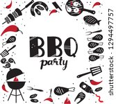 hand drawn grill and barbecue... | Shutterstock .eps vector #1294497757