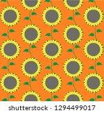 sunflower flower pattern. | Shutterstock . vector #1294499017