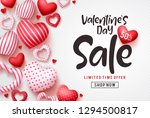 Stock vector valentines day sale vector banner template valentines day sale discount text with hearts elements 1294500817