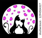 romantic meeting of cats.  | Shutterstock . vector #1294504327