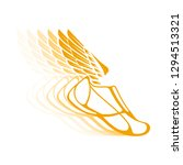 icons sports shoes with wings. | Shutterstock . vector #1294513321
