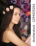 long haired brunette girl with... | Shutterstock . vector #1294525201