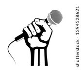 hand with microphone  icon | Shutterstock . vector #1294528621