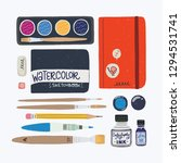 set of tools for watercolor... | Shutterstock .eps vector #1294531741