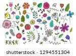 set of cute hand drawn colorful ... | Shutterstock .eps vector #1294551304