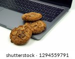 Cookies On A Keyboard. Concept...