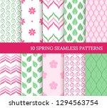 ten spring seamless patterns.... | Shutterstock .eps vector #1294563754
