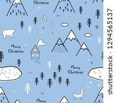 seamless scandinavian pattern...   Shutterstock .eps vector #1294565137