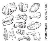 raw chicken meat sketch ... | Shutterstock .eps vector #1294574431