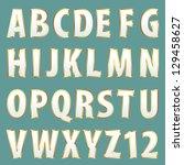 vector golden alphabet painted... | Shutterstock .eps vector #129458627
