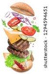 hamburger ingredients falling... | Shutterstock . vector #1294594651