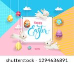 happy easter cute bunny and egg ...   Shutterstock . vector #1294636891