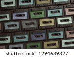 cassettes background  3d... | Shutterstock . vector #1294639327