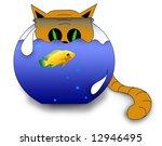 Cat looking at a fish - stock photo