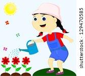 sunny day happy girl watering... | Shutterstock . vector #129470585
