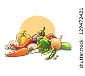 vegetables still life. vector... | Shutterstock .eps vector #129472421